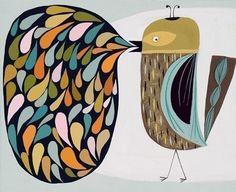 Charlie Bird Print of an original gouache painting by matteart