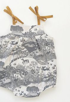 Handmade Vintage Style Woodland Print Baby Romper | SwallowsReturn on Etsy