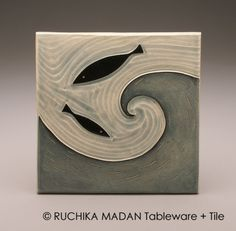 Two Fish in Wave- 6x6 tile-Ruchika Madan... This would be pretty on the back of like a counter and only some of them have fish on it