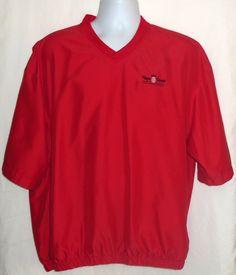Mens FootJoy Golf Pullover Windshirt V-Neck Short Sleeve Red Bryce Resort L #FootJoy #CoatsJackets