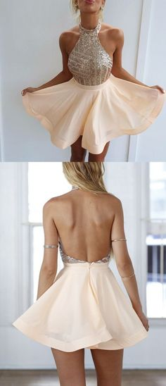 Sexy Backless Halter Homecoming Dresses Short Prom Dresses with Gold Sequins - fashion - kleidung frauen sommer 2019 Semi Dresses, Dresses Short, Hoco Dresses, Beige Dresses, Trendy Dresses, Elegant Dresses, Cute Dresses, Beautiful Dresses, Evening Dresses