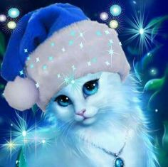 Embrace Christmas In Your Heart! Cute Cats And Kittens, I Love Cats, Kittens Cutest, Cat Wallpaper, Animal Wallpaper, Cute Animal Drawings, Cute Drawings, Cat Crafts, Cute Cartoon Wallpapers