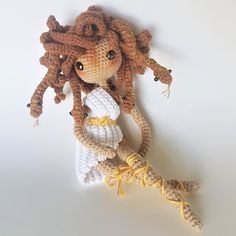 CombiPatternPack Medusa+FantasySprite English(USA)&Dutch bendable doll Medusa with legs by FantasySpriteStudio on Etsy Crochet Patterns Amigurumi, Amigurumi Doll, Crochet Dolls, Aluminum Crafts, Adornos Halloween, Fingering Yarn, Glitter Paint, Thread Crochet, Chain Stitch