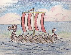 How to Draw Worksheets for The Young Artist: How to Draw a Viking Ship, a lesson for the Young Artist.