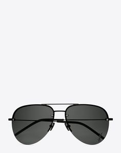 749082fd949 SAINT LAURENT MONOGRAM M11 SUNGLASSES IN SEMI MATTE BLACK METAL WITH GREY  LENSES
