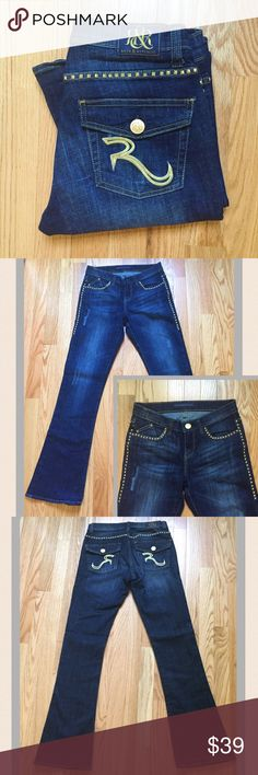 "Rock & Republic Kasandra Bootcut Jeans Beautiful Rock & Republic Jeans featuring gold studding embellishments. Dark wash; 98% cotton, 2% spandex. Waist 15"" laying flat; Inseam 31"", Rise 8"". EUC. Rock & Republic Jeans Boot Cut"