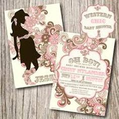 Cute cowgirl baby shower invitation baby with pink cowgirl hat