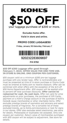 e2d0b9caef Kohls Coupons and Discounts – February 2015 Kohls Printable Coupons for  Luggage Local Coupons