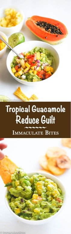 Tropical Guacamole- An intriguing guacamole with some sweetness from mango , papaya and pineapple and less guilt. Paired with plantain chips, they make an amazing pair Healthy Snacks, Healthy Eating, Healthy Recipes, Papaya Recipes, Caribbean Recipes, Caribbean Food, Island Food, Exotic Food, Latin Food