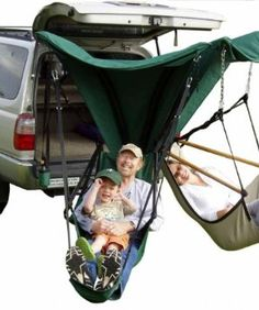 Trailer hitch hammock - cool idea when tent camping