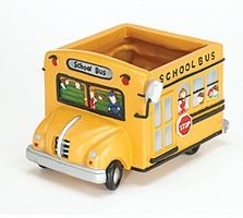 """School Bus Planter, a Grandparent gave me this at the end of """"11"""" school year. Plant died while on vacation, now it's a pencil holder! Love it!!"""