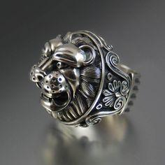 LION'S HEAD sterling silver statement RING by Sergey Zhiboedov - Etsy WingedLion