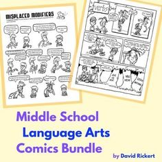 Middle School Language Arts Bundle: Grammar Comics. Comics (and activities) that cover the parts of speech, common grammatical errors in writing, and commas. Also included are a set of posters for each part of speech.