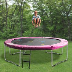 The Oz Trampolines Round Trampoline' is a great mid-size trampoline without the optional safety net. Backed by generous warranties, great quality parts and fun design, this bright trampoline allows for the perfect bouncing experience. Trampolines, Poker Table, Cool Designs, Safety, Bright, Fun, Security Guard, Springboard