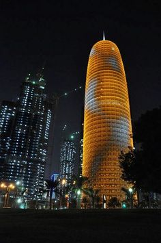 Doha Tower. Qatar by Jean Nouvel.  Islamic screens were designed to shade the building from high temperatures and to eliminate the sand grit that forms on windows of this area.