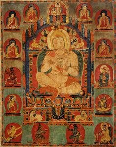 Portrait of Jnanatapa surrounded by lamas and mahasiddhas, ca. 1350 Tibet, Riwoche Monastery Distemper on cloth