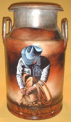 country western cowboy hand painted milk cans bull rider Country Western Decor, Western Crafts, Country Crafts, Farm Crafts, Horse Crafts, Milk Can Decor, Painted Milk Cans, Old Milk Cans, Milk Jugs