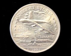 """1991 Uncirculated Desert Storm """"B-52 Stratofortress"""" Commemorative Coin from the New Queensland Mint!. Starting at $19"""