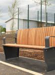 Blackey steel and timber seat installed at Blackley CO-OP Academy school Street Furniture, Bench Seat, Porch Swing, Outdoor Furniture, Outdoor Decor, Steel, School, Home Decor, Decoration Home