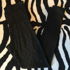 Geometric print black leggings Geometric print black leggings from Target. Size XS. Top waistband can be folded over. I did not find them to be see through but it's always safer to wear a nude colored panty or wear a top long enough to cover.  In excellent preloved condition with no stains or tears. Mossimo Supply Co. Pants Leggings