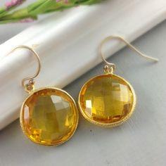 Citrine Jewelry Bezel Citrine Earrings by anatoliantaledesign, $48.00
