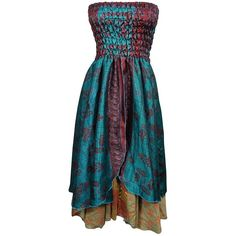 Womens Dress Skirt Blue Strapless Smocked Bodice Boho Gypsy Hippie ($25) ❤ liked on Polyvore featuring dresses, smocked strapless dress, blue bohemian dress, bohemian hippie dresses, boho style dresses and smock dress