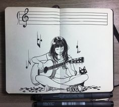 #8 Sound and Silence by Picolo-kun on DeviantArt Girl Drawing Sketches, Pencil Art Drawings, Cool Art Drawings, Art Journal Inspiration, Art Sketchbook, Ink Art, Doodle Art, Cartoon Art, Illustration Art