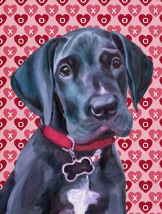 Black Great Dane Puppy Hearts Love and Valentine's Day 2-Sided Garden Flag