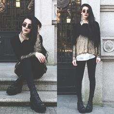 Holynights Claudia - Zara Sequin Gold Collar Shirt, Style Moi Gold Ombré Sweater - Black and gold
