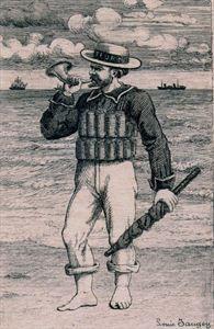 "Een Blankenbergse strandredder of ""sauveteur"" uit 1870. Kunstpatrimonium Blankenberge, KP0570."