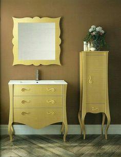 Muebles baño vintage color oro