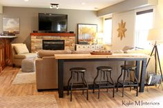 Love the idea of sofa table and seats. man or guy friendly family room decorating ideas with a bar table and stools behind the sectional to watch tv with sherwin williiams pewter tankard and live edge wood table behind sectional couch Bar Table And Stools, Pub Table Sets, Bar Tables, Bar Table Diy, Drink Table, Family Room Decorating, Family Room Design, Decorating Ideas, Family Rooms