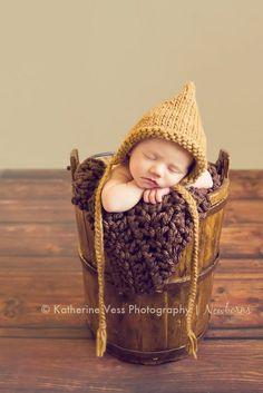Pixie Bonnet Hat - Bronze Brown-  Newborn size- Newborn Knit Hats- Winter Knit Bonnet-  Photography prop