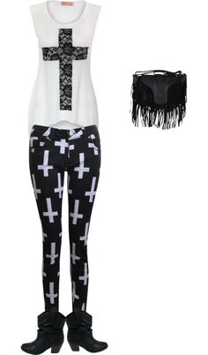 """Crosses outfit"" by paigielynn ❤ liked on Polyvore"