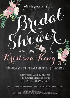 Chalkboard Bridal Shower Invitation #meaganadairdesigns