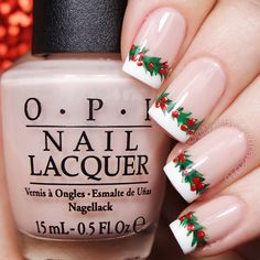 Decorate your nails with cherries and leaves to get this holly garland inspired nail art over a nude base. Check out the how to using these product picks to recreate.