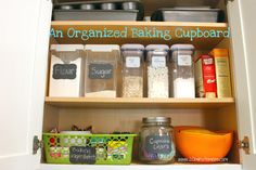 Dedicate a cupboard space for baking ingredients and supplies! Pretty and Functional. #organized #kitchen #baking
