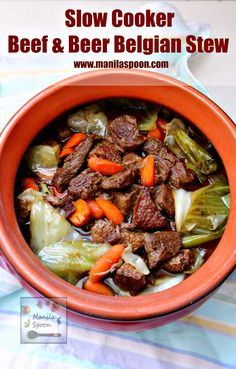 Beef chunks are steeped in Belgian beer in the slow cooker and result in a melt-in-your-mouth delicious stew! This is the best beef stew ever! Crock Pot Slow Cooker, Crock Pot Cooking, Pressure Cooker Recipes, Crockpot, Healthy Beef Recipes, Meat Recipes, Cooking Recipes, Yummy Recipes, Best Beef Stew Ever