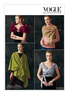 Misses Wraps, Shrug, and Scarf Vogue Sewing Pattern 9291 from Sew Essential. Buy with confidence from experts who care. Vogue Patterns, Sewing Patterns Free, Sewing Tutorials, Sewing Tips, Sewing Ideas, Sewing Projects, Learn Sewing, Coat Patterns, Crochet Shrug Pattern