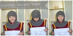 As promised I am giving the instructions on how to crochet the knight hood / hat I posted about last week . (he was so proud of his dog p...