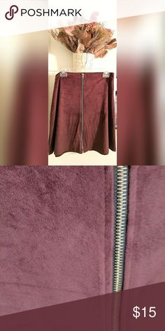 """""""suede"""" burgundy skater skirt Soft material.  Suede like.  With a gold zipper down the middle.  Longer version of a skater skirt. Skirts Circle & Skater"""