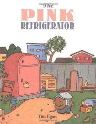 """The badger finds a mysterious pink refrigerator in a junk yard. Each day the note on the fridge sports a new suggestion, like """"read more"""", """"make pictures"""", or """"play music"""". Inside the fridge he finds the materials he needs: books, art supplies, a trumpet, etc. The final note, """"keep exploring"""" prompts Dodsworth to leave his own note, """"Went to find an ocean."""" This is a great story about the willingness to be open to trying new things."""