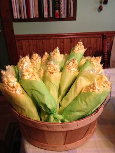 Baggies of popcorn wrapped in tissue paper to look like corn on the cob. The kids loved it.