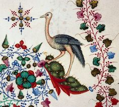 Marginal ostrich. Breviary of Mary of Savoy, Lombardy ca. 1430. Chambéry, Bibliothèque municipale, ms. 4, fol. 560r