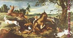 Frans Snyders, Hirschjagd Fine Art Reproduction Oil Painting