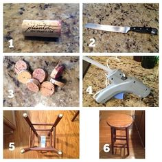 Turn #wine corks into furniture floor protectors. *tip* use a serrated bread knife to cut the corks more easily! Thee get less grungy than the felt ones that you buy at the hardware store.