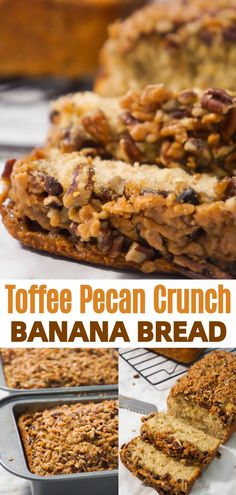 This Toffee Pecan Crunch Banana Bread is an easy banana bread recipe using butter pecan cake mix. Topped with pecans and toffee bits for a crunchy crust. This is a great snack or breakfast idea. Banana Pecan Bread Recipe, Cake Mix Banana Bread, Butter Pecan Cookies, Easy Banana Bread, Pecan Recipes, Easy Bread Recipes, Banana Bread Recipes, Crockpot Recipes, Homemade Desserts