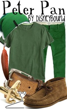 Peter Pan Disneybound -- the green shirt and feather necklace?