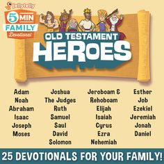 Adam, Noah, Abraham, Moses, Ruth, Esther ... Help your kids learn all about the famous stories of the Old Testament with the JellyTelly 5 Minute Family Devotional!  Each Devotional is a free video with clips from What's in the Bible?, Scripture reading, discussion questions, prayer topics, and is supported with a blog that includes free coloring downloads.