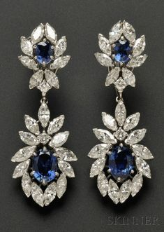 Platinum Sapphire and Diamond Day\/Night Earpendants set with cushion-shape sapphires framed by marquise and full-cut diamonds approx. purchased in the from Cartier Jewelry, Bling Jewelry, Diamond Jewelry, Antique Jewelry, Diamond Earrings, Jewelery, Vintage Jewelry, Jewelry Accessories, Jewelry Design